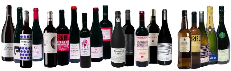 Selezione di vini e champagne (DO.O Rioja, Ribera del Duero, Priorat, Montsant, Somontano, ruota, Rias Baixas ... ecc)