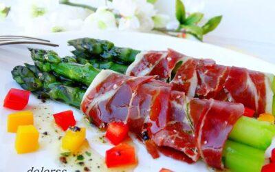 Grande receita com Bellota presunto e espargos verdes